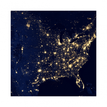 USA by night from space